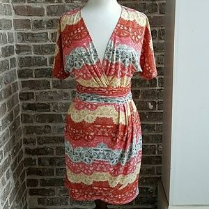 Bright Colorful BCBG Faux Wrap Dress